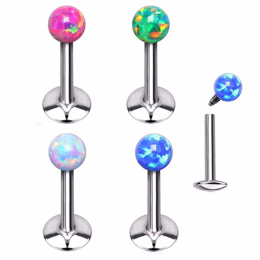 SYNTHETIC-OPAL FLOWER TOP STEEL LABRET MONROE BAR LIP RING TRAGUS JEWELRY 16G