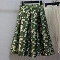 2016 nuevo invierno de impresión margarita falda retro vintage falda de cintura altura