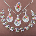Pretty Multicolor  Zirconia 925 Sterling Silver Jewelry Sets Necklace Pendant Earrings Rings Bracelet Free Shipping JQ030