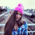 Nuevo 2016 Sombrero Femenino Unisex Sólido del Algodón Caliente Suave Caliente de LA CADERA HOP Mujeres Gorras Skullies Gorros de Punto Sombreros de Invierno Para Hombres de Las Mujeres