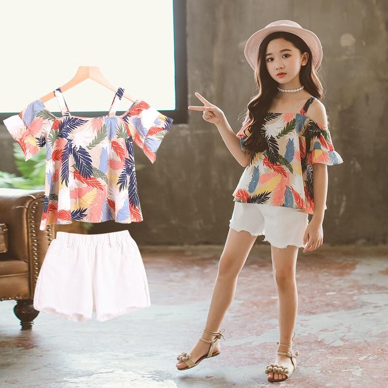 Одежда для девочек, летняя детская одежда для девочек, Корейская футболка + шорты, детский спортивный костюм для девочек 12 лет, 2019