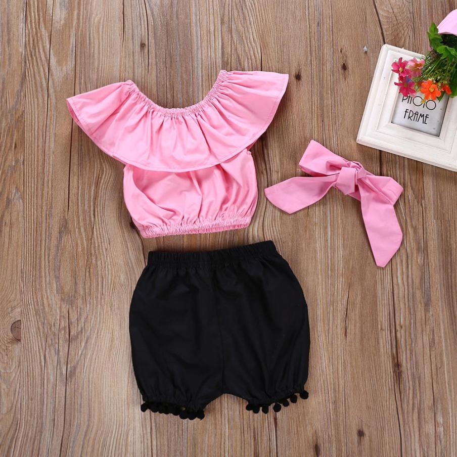 MUQGEW Childrens Summer Sets 2018 Baby Girl pink off the shoulder ruffle tops+black tassel Shorts + Headband Outfit Set Clothes