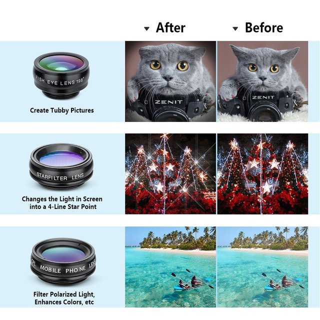 APEXEL 10in1 CellPhone Camera Lens Kit Wide Angle&Macro Lens+Fisheye Lens Telephoto Lens CPL/Flow/Star/Kaleidoscope for phones 1