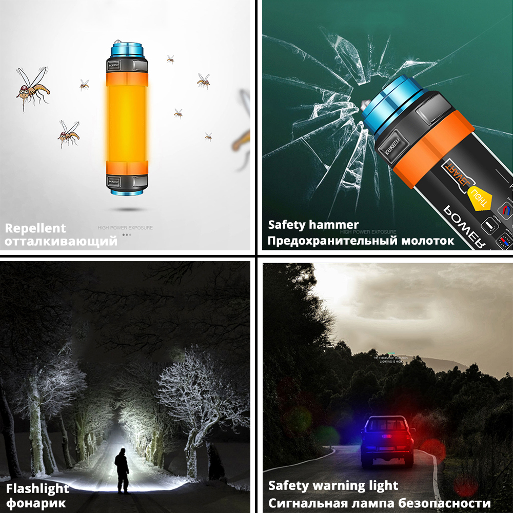 Купить с кэшбэком Multifunctional Rechargeable LED Flashlight Camping Lantern 7800mAH Tent Light Lamp Work Fishing Warning Light IP68 waterproof
