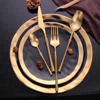8pcs/lot Gold Portable Cutlery Stainless Steel Table Knife S poon Fork Set Dinnerware Korean Food Cutlery Tableware Sets