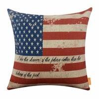 LINKWELL Cojín Decorativo Arpillera Cubierta de la Bandera Nacional de EE. UU. BlueStar Raya Roja 45X45 cm Home Decor Throw Pillow caso