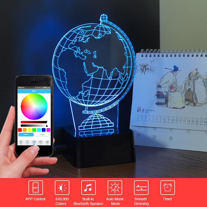 ФОТО 3D Music Night Light Globe Lamp Bluetooth Speaker APP Control LED Touch Light RGB Table Lamp Home Decor Child Christmas Gift