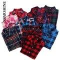 Más el Tamaño de Blusas de Las Mujeres Camisa A Cuadros 2016 Algodón Cepillado Camisa de manga larga Blusa Casual Tops 20 Colores Disponibles