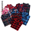 Plus Size Blouses Women Plaid Shirt 2016 Brushed Cotton Long-sleeved Blouse Shirt Casual Tops 20 Color Available
