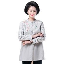 2019 Women Spring Autumn Shirt Mandarin Collar Blouses Gray Navy Blue Tops Woman Peplum Blouse Loose Shirt Casual Embroidery Top