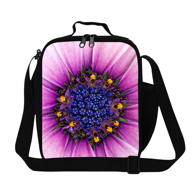 Mejor bolsa de almuerzo niños para niñas, flor de la impresión floral bolsa de picnic aislados, personalizada barata hielera y fiambrera para oficina de las mujeres
