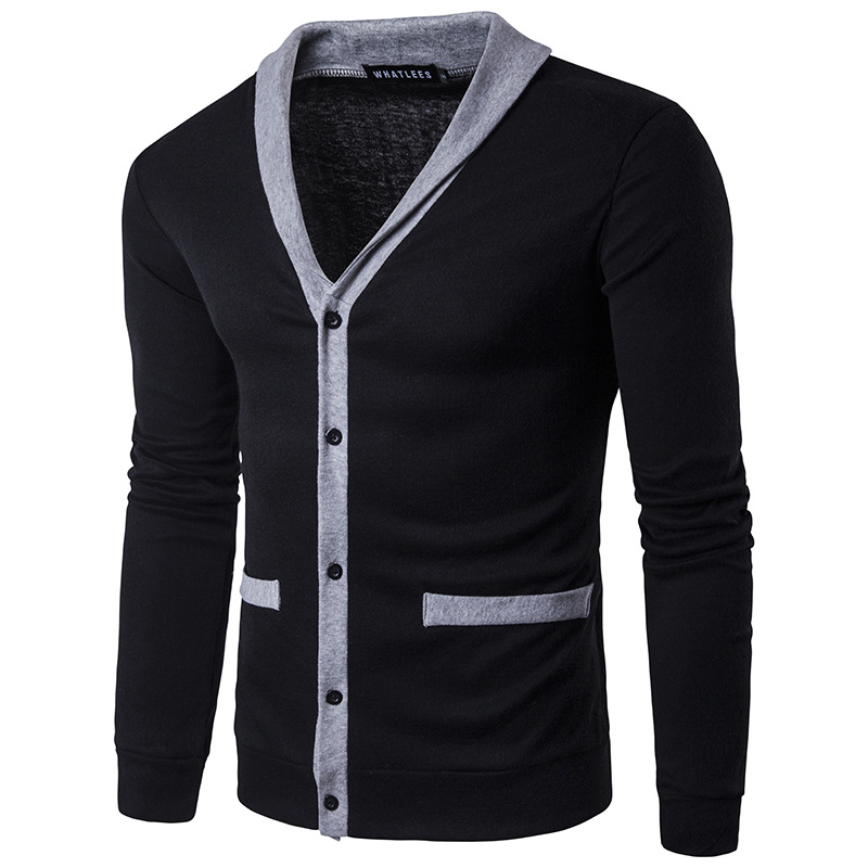 2018 Men's Knit Long Sleeve Casual Knit Patchwork Spring New Jacket #152