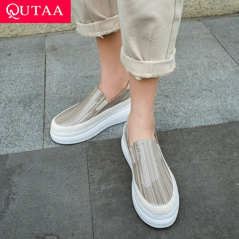 QUTAA 2020 Patent Leather Casual Shoes Women Pumps Slip on All Match Women Shoes Platform Wedges