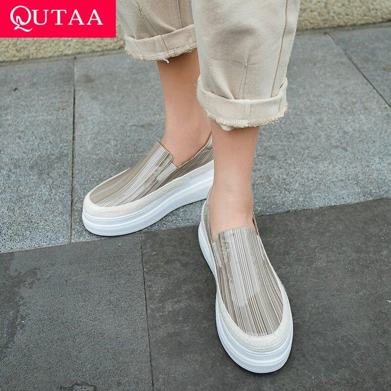 QUTAA 2020 สิทธิบัตรหนังสบายๆรองเท้าผู้หญิงปั๊ม Slip บนทั้งหมดรองเท้าผู้หญิงแพลตฟอร์ม Wedges ส้นปั๊มขนาด 34 40-ใน รองเท้าส้นสูงสตรี จาก รองเท้า บน   1