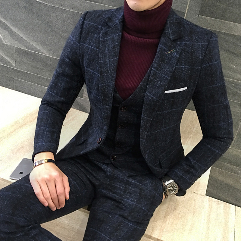 LEFT ROM 3 Piece Tweed Suit Men Plaid Blazer S 4XL 5XL Khaki Grey Blue Black Groom Wedding Dress Suits Costume Homme Ternos Slim