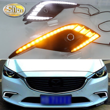 SNCN Led Daytime Running Lights For Mazda 6 2016 2017 DRL Fog lamp cover daylight with yellow turn signal lamp