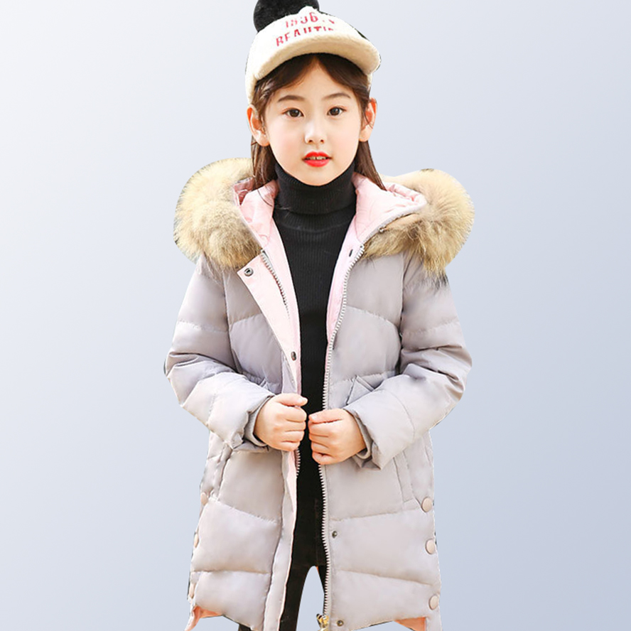 Children Girls Winter Coat 2018 Fashion Fur Hooded Thick Cotton Down Warm Clothes Long Kids Parka Jacket Outwear Size 8 10 12 14 2018 new fashion winter jacket men long thick warm cotton padded jackets coat parka overcoat casual outwear jacket plus size 6xl