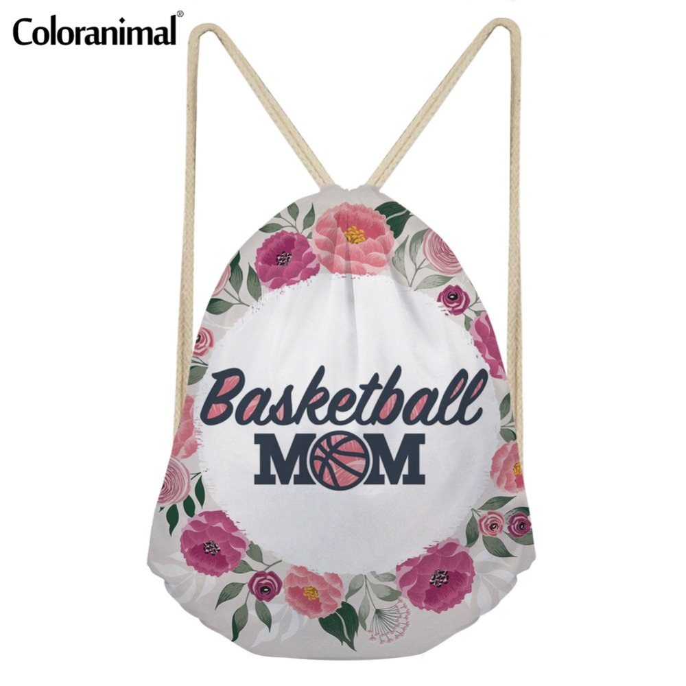 Coloranimal Yoga Shoes Women Drawstring Bag 3D Basket Ball/Football/Volleyball Mom Print Gym Sack For Men Small Backpack Satchel