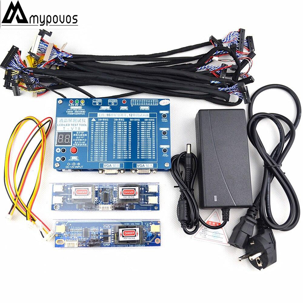 Génération Ordinateur Portable TV/LCD/LED Outil de Test LCD Testeur de Panneau de Soutien 7-84 w/LVDS Interface Câbles Onduleur + 14 pcs Écran Ligne
