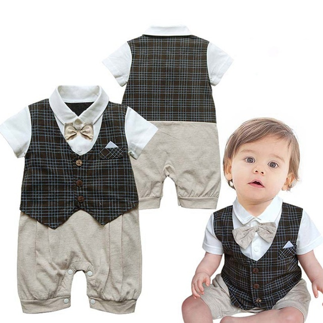 dab3929bcd1d Cute One Piece Gentleman Baby Romper Suit with Bow Tie Wedding Jumpsuit  Bebe Overalls Newborn Kids Clothes Children Outerwear