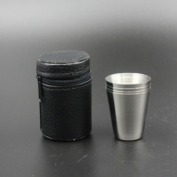 4PCS Wine Cup Set 28ml Mini Stainless Steel Alcohol Cup for Wiskey Vodga Pocket Travel Mug Small  Water Bottle Unisex Drinkware  Кубок