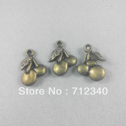 50Pcs Vintage Antique Bronze Alloy Cherry Pendant Charms Jewelry Findings 18*13MM 2104