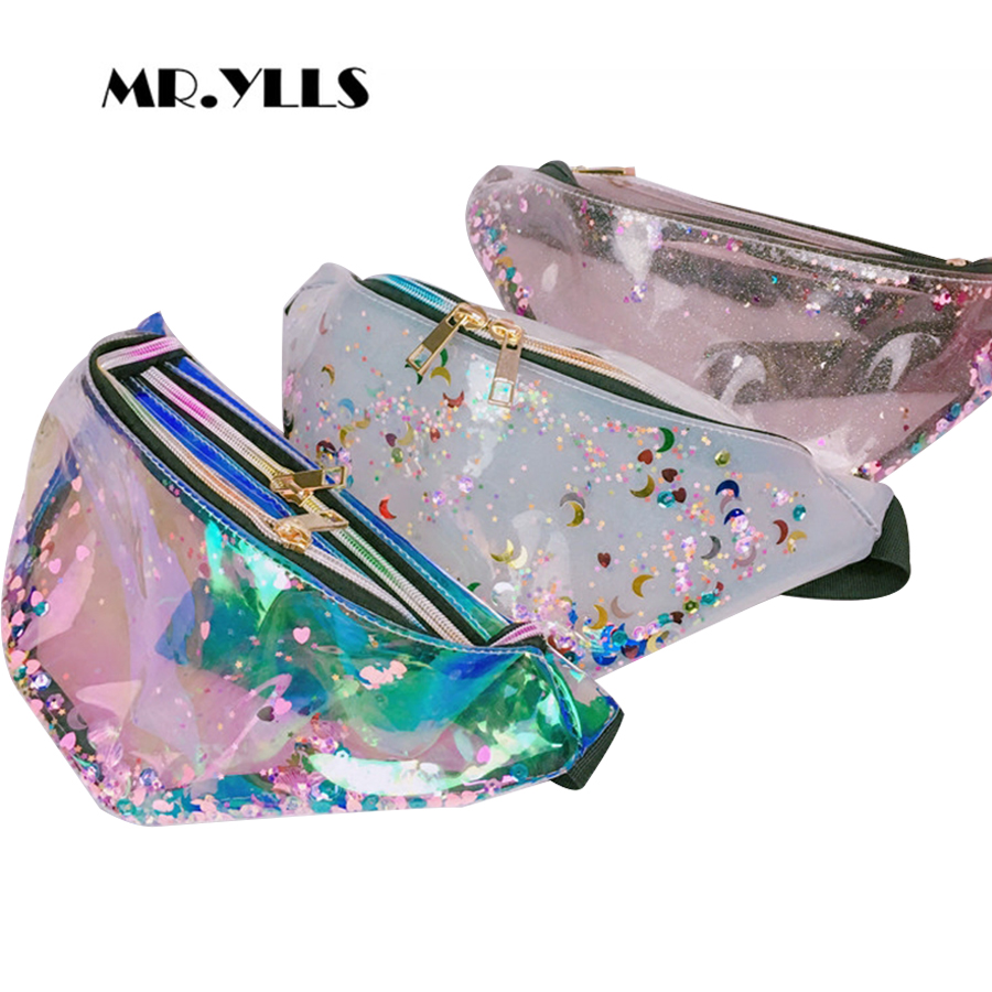 Laser Transparent Jelly Waist Bags Women Sequined Color Belt Bags Women Pillow PVC Zipper Waist Bag Fashion Solid Females Pocket fashionable high waist solid color zipper fly denim skirt for women