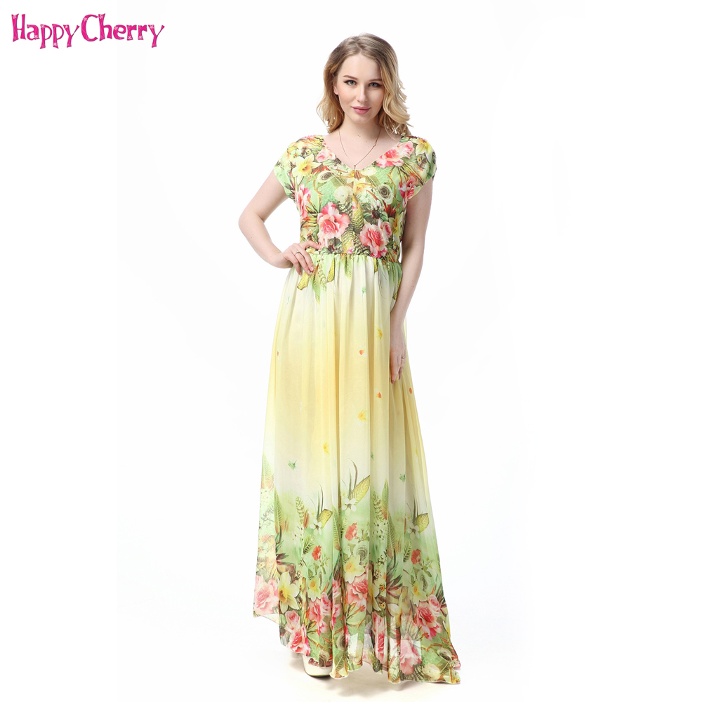 New Pregnant Women dress Summer Printing Short Sleeve Long Dress Bohemian Chiffon Beach Dress Maternity Dresses For Pregnancy купить недорого в Москве