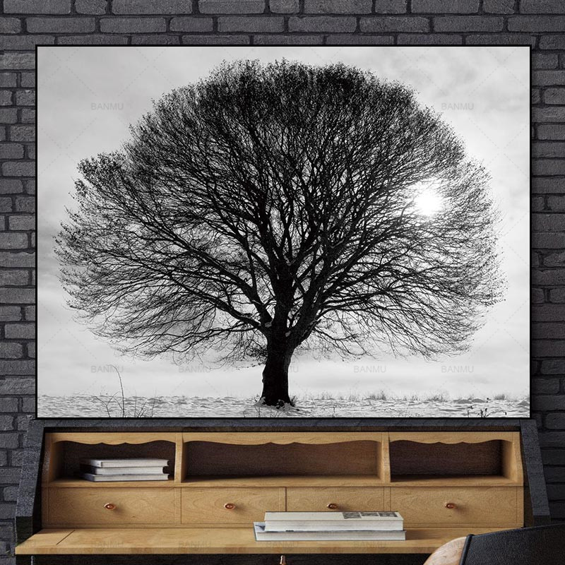 Nordic plakat Obraz na płótnie home decor reprodukcje Tall Trees Forest Natural Wall Zdjęcia Living Room Art Decoration Picture