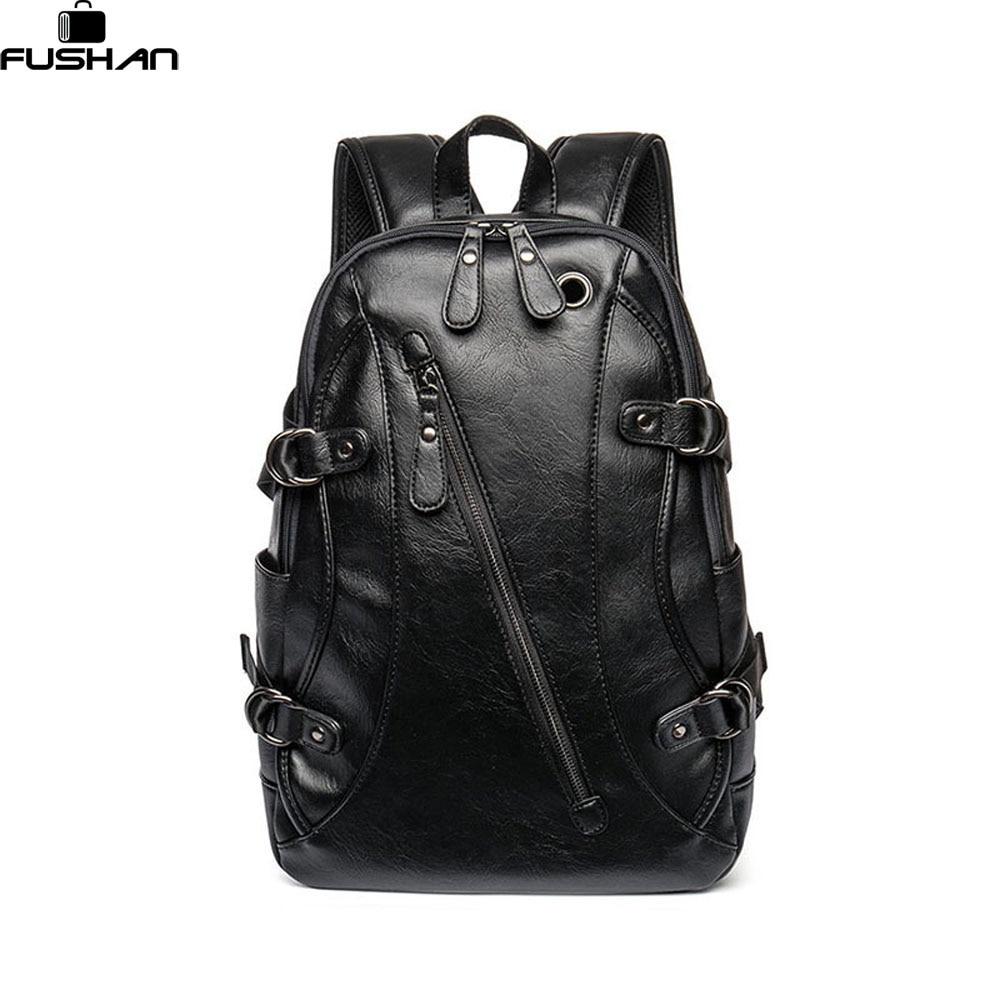 Hot Sale Oil Wax Leather Backpacks Western Style Fashion Bag For Men Laptop Travel Mochila Zip ...