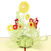 3D Pop Up Origami Paper Laser Cut Greeting Cards Handmade Vintage Sunflower Birthday Postcards DIY Thank You Cards Gift H06(China)