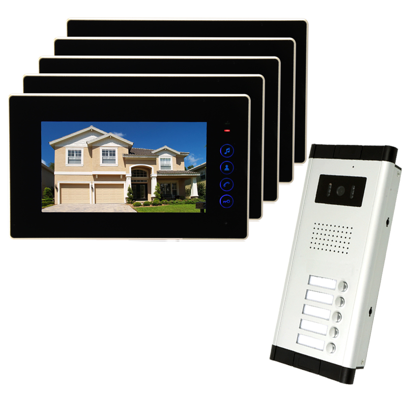 Brand New Apartment Intercom 7 inch LCD Touchkey Video Door Phone Doorbell intercom System for 5 house 1V5 FREE SHIPPING