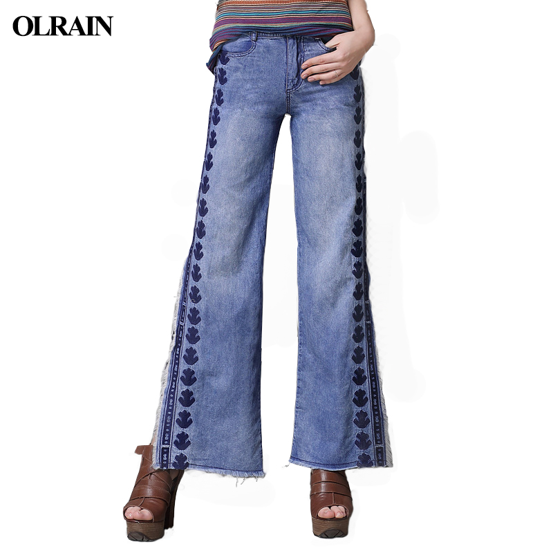 Olrain Womens 2018 Summer New Fashion Splice Hair Edge Jeans Split Wide Leg Pants Retro Embroidery Trend Was Thin Long Jeans