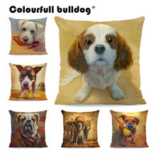 Pillow Covers English Bulldog Bull Terrier Schnauzer 43*43CM Cushion Cases Chihuahua High Heels Tennis Kid Room Decor Kussenhoes(China)
