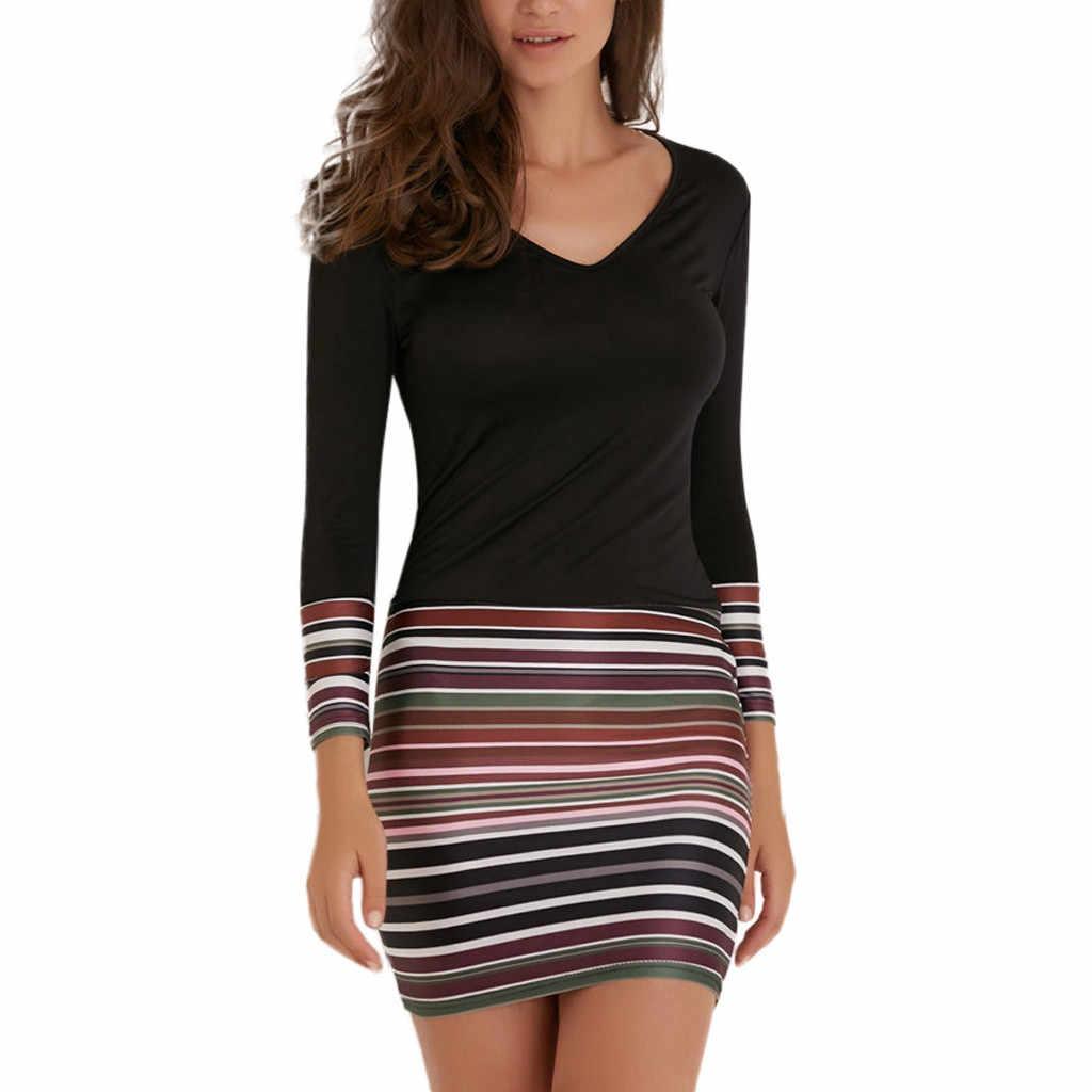 Dames Jurk Womens Gestreepte Patchwork V-hals Lange Mouw Lente Herfst Jurk Avondfeest Jurk Vrouwelijke Mode Vestidos M40 #