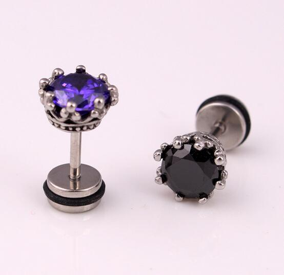 2pcs Stainless Steel Earring Studs Mens Earrings Round Zirconia Royal Crown Stud Black White Purple Zircon Ear In From Jewelry