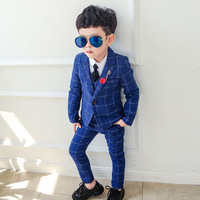 Dollplus 2019 Boy Blazers Suit Boys Suits Formal Suit for Kids Boy Birthday Dress Wedding Toddler Blazer(Blazer+Vest+Pant)