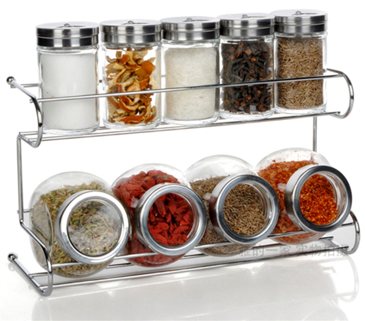 kitchen glass storage spice jar bottle seasoning storage cans with holder rack kitchen storage container - Glass Spice Jars