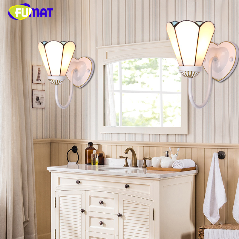 FUMAT Stained Glass Wall Lamp Mediterranean Style Blue Glass Shade Light For Living Room Art Corridor Bedside LED Wall Lights fumat stained glass roses lightings modern art pendant light for living room restaurant lamp european style pendant lamp lights