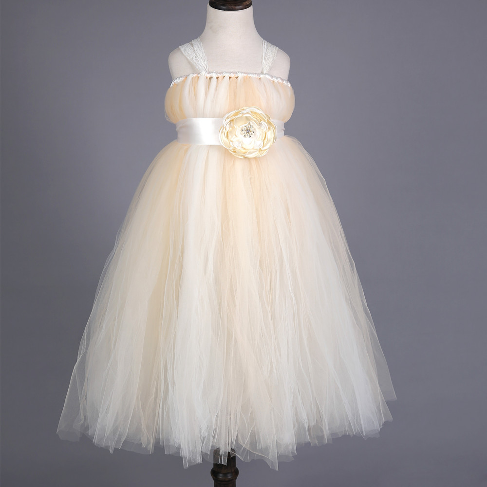 New Flower Girl Dress Baby Wedding Bridesmaid TuTu Dress Handmade Lace Tulle Princess Girls Formal Dress Kids Party Pageant Gown 2017 new flower girls party dress embroidered gownceremonial robe dress formal bridesmaid wedding girl christmas princess robe