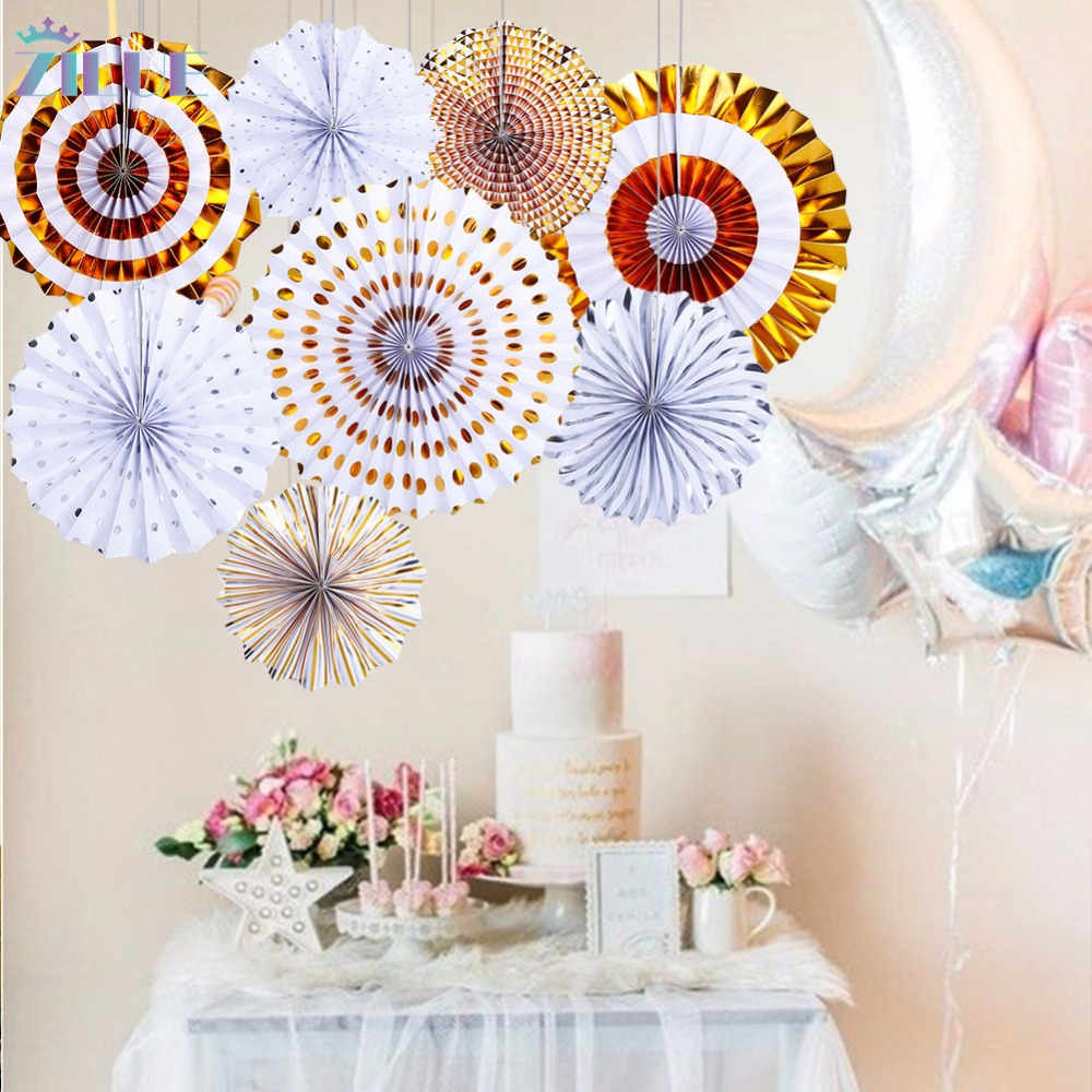 Zilue 8pcsset Gold Silver Paper Flowers Folded Paper Fan Birthday