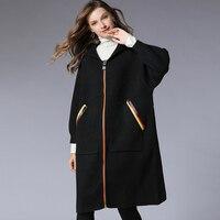 Женский Тренч с капюшоном, шерстяное пальто, плюс размер, 2019, Весенняя женская одежда, большой размер, d черный принт с буквами, теплая верхня