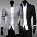 Cardigan Camisolas Dos Homens 2016 Marca de Moda De Natal De Malha Blusas Oversized Mens Malhas Luva Cheia Cardigans Casaco Cinzento Q830