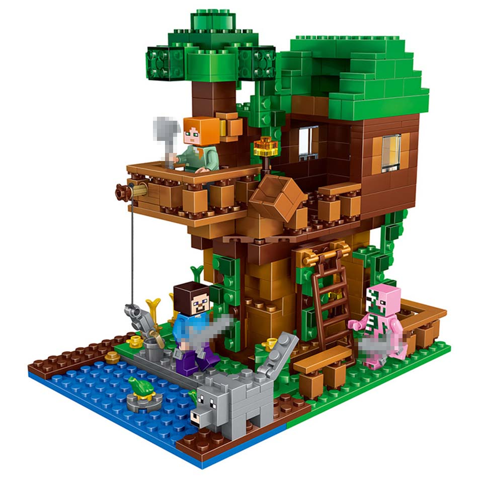 406pcs Model building Blocks Mine World The Tree House Compatible LEGOINGLY My Craft Figures Kids Educational Toys for children my world tree house brick scene series steve mini blocks model building blocks kit toys for children compatible 21125