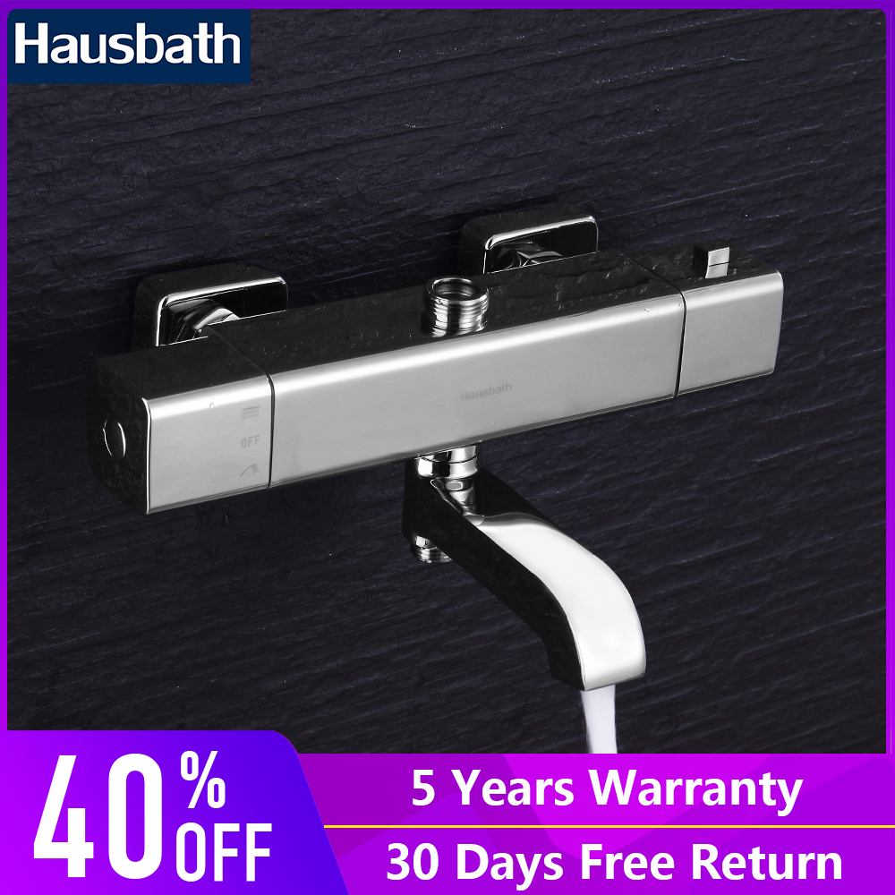 цена 2018 New Arrival Bathroom Shower Faucet Thermostatic Control Wall Mounted Chrome Finished Modern Tap Mixer