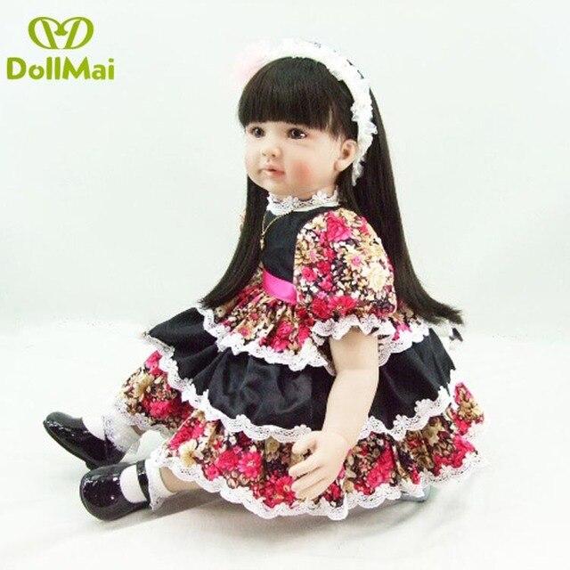 60 cm Silicone Reborn bébé poupée jouets comme réel 24 pouces vinyle princesse cheveux longs Adorable bambin fille bébés poupées cadeau danniversaire
