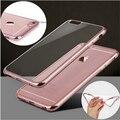 Ultra fino subiu chapeamento de ouro crystal clear case para iphone 7 7 MAIS SE 5S 6 6 s Mais Saco Do Telefone tpu Transparente macio cobre