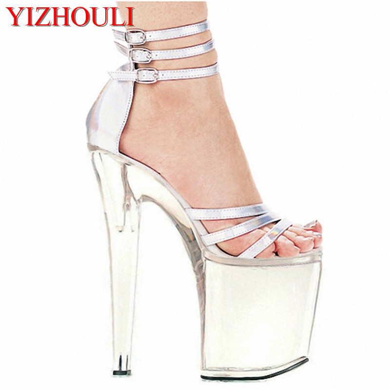 8 inch high heel shoes platform party crystal shoes silver white bridal shoes 20cm high heel sandals sexy Exotic Dancer shoes 20cm unusual high heel shoes silver 8 inch high heel gladiator sandals crystal platform slippers made in china sexy rome shoes