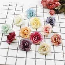 New 10pcs/LOT artificial flower silk rose head wedding party home decoration DIY wreath scrapbook gift box crafts