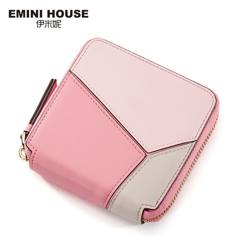 EMINI HOUSE Mixed Color Women Short Wallet Split Leather Two-Fold Lady Purse Multifunction Cow Leather Women Coin Purse